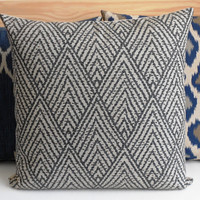 Gray and tan chevron diamond decorative throw pillow cover
