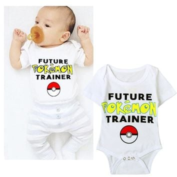 Baby Boys Rompers Summer Pokemon Go Costume Infant Girls Clothing Sets Short Sleeve White Cotton Newborn Children Jumpsuit DS40