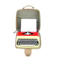 Red typewriter Consul in good working condition vintage mechanical new ribbon functional home office decor