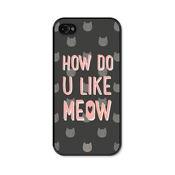 iPhone 5 Case - How Do You Like Meow - iPhone Cat Case - Fits 5 and 5s - Peach and Grey