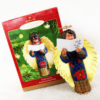 "NIB Hallmark Keepsake Ornament ""Noche de Paz"" Handcrafted Brass Holiday Chrismtas Decorate Spanish Silent Night Angel Hymn Mosaic Wings Red"