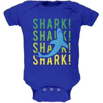 LMFCY8 Shark Stacked Repeat Soft Baby One Piece