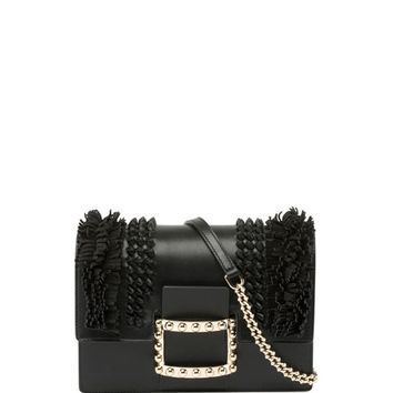 Roger Vivier Viv Micro Knots/Fringes Shoulder Bag, Black
