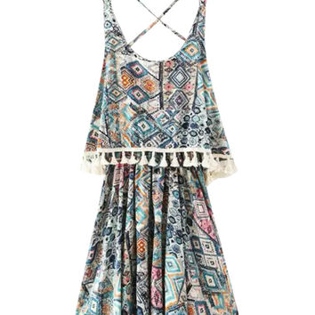 Printed Strappy Fringed A-Line Pleated Mini Dress