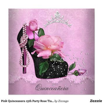 Pink Quinceanera 15th Party Rose Tiara Shoe 2 Announcement from Zazzle.com