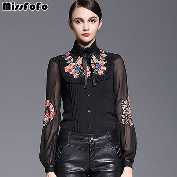 Ruffles One Piece Shirt Slim Embroidery Women's Demi-Season Casual Shirt and Spring Fashion XL