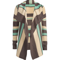 Full Tilt Stripe Girls Wrap Sweater Green Combo  In Sizes