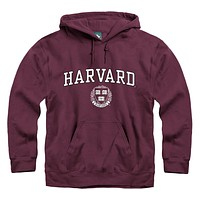 Harvard University Crest Hooded Sweatshirt (Crimson)