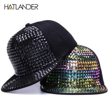 Trendy Winter Jacket [HATLANDER]Personality sequins baseball caps flat brim outdoor hats girls boy bling Punk snapback cap Jazz Rock cool hip hop cap AT_92_12