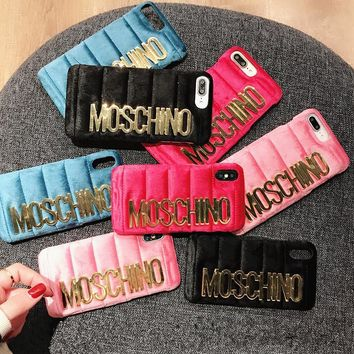 moschino fashion flannel women simple letter iphonex 8 6s phone hard shell iphone7 plus apple phone case