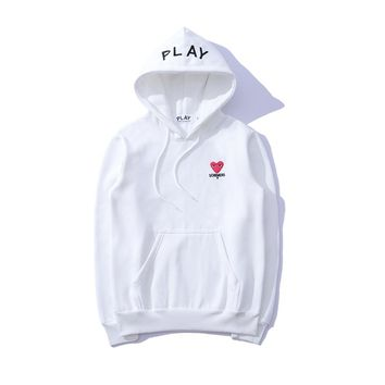 PALAY 2018 new trend men and women models embroidery love loose hoodie white
