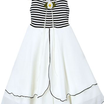 Black Striped Stretch Knit & Two Tier Ivory Chiffon Sundress (Girls 2T - Size 12)