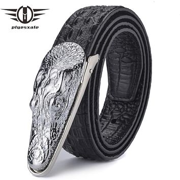 Leather Belt Men Luxury Crocodile Belts Men Gold Silver Bronze Metal Buckle Designer Belts