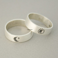 925 sterling silver Sun and Moon Ring ,Couple Rings,Custom Personalize