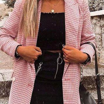 Get Down To Business Pink White Plaid Pattern Long Sleeve Single Button Long Blazer Jacket Outerwear