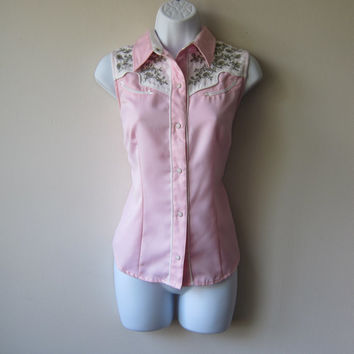 Pink Button Up Cowgirl Shirt with Embroidered Shoulders by Roper -- Rockabilly Retro Western Rodeo Babe!