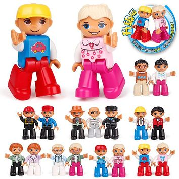 New Family figur Occupation Big Building Blocks city DIY Education Assemble Baby Toys Compatible with Duplo Original Bricks Gift
