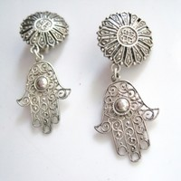 Vintage Moroccan Hamsa Silver Dangle Clip on Earrings