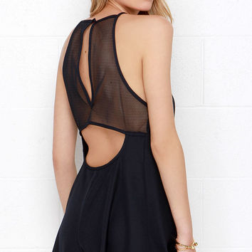 The Fifth Label Don't Panic Navy Blue Mesh Romper
