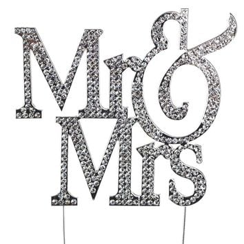 Sparkling Rhinestone Metal Crystal Cake Topper,  Mr & Mrs Caps, 10-1/4-Inch