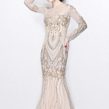 Primavera Couture - Long Sleeved Sheer Embellished Evening Gown 1701