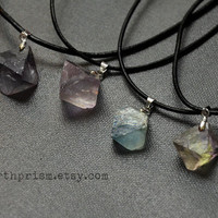 Raw Rainbow Fluorite Gemstone Pendant Silver Chain Necklace / Stone choker / Natural crystal / Raw stone / Leather choker / Crystal Choker