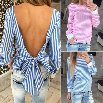 Women Summer Striped Loose Tops T-shirt Long Sleeve Backless Shirt Casual Blouse