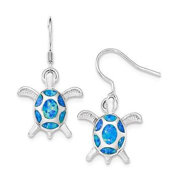 Sterling Silver Created Blue Opal Turtle Dangle Earrings