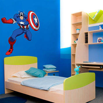 Captain America Vintage Decal - Hero Printed and Die-Cut Vinyl Apply in any Flat Surface- Marvel Captain America Decor