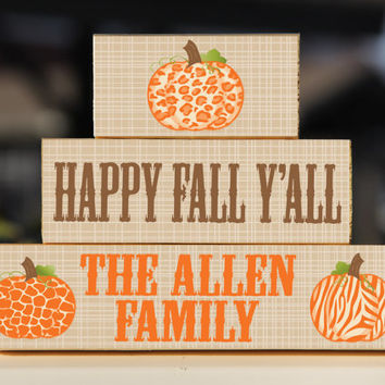 Fall Blocks Happy Fall Y'all Pumpkin Personalized -Trio Wood Blocks Stack - Fall Decor/Gift - Wooden Blocks