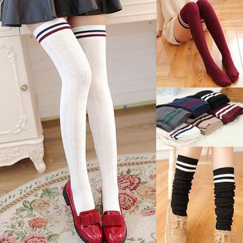 Fashion Women Knitted Over The Knee Long Socks Striped Thigh High Stocking Socks