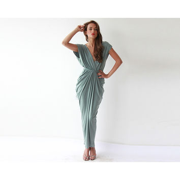 Sage green formal maxi dress
