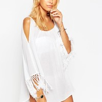 ASOS | ASOS Cold Shoulder Fringed Beach Cover Up at ASOS