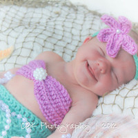 Baby Mermaid Tail, Bikini Top, and Headband-Three Piece Photo Prop