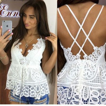 Women's Trending Popular Fashion Hollow Bandage Lace Lace Sexy Backless Spagehetti Strap Erotic Casual Party Playsuit Clubwear Bodycon Boho Top Shirt T-Shirt _ 8710