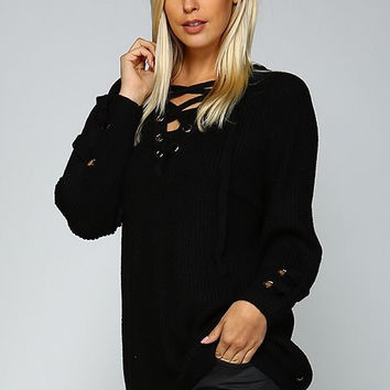 Oversized Lace Up Sweater - Black