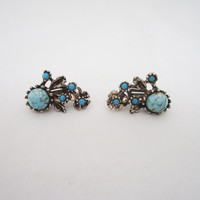 Vintage Clip on Earrings with Blue Gemstone, Floral Design Earrings, Vintage Earrings