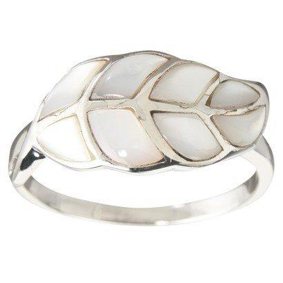 Sterling Silver White Mother of Pearl Leaf Ring