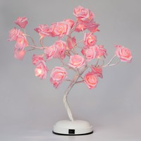 GOJOOASIS Rose Flower Valentines Gift Table Lamp Desk Pink Tree Light for Wedding Living Room Bedroom Party Home Decor 17.7 Inch with 32 LED Warm White Lights