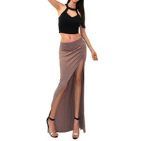 Sexy Black Edgy High Waist Double Slit Summer Cover Up Maxi Skirt