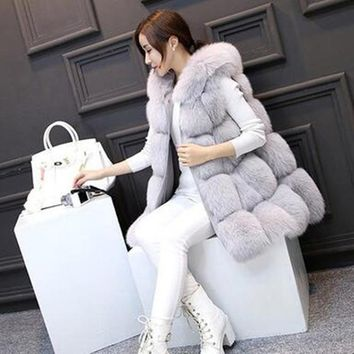 Elegant Faux Fox Fur Vest Coat Women Fluffy Warm Removable Long Leather Sleeve Female Outwear Winter Coat Jacket Hairy Overcoat