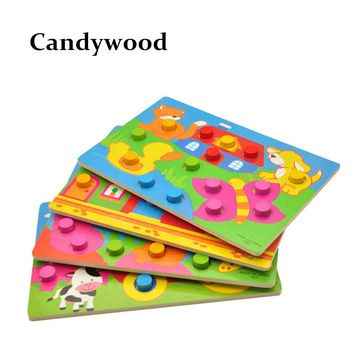 Kids Wooden Toys Cartoon Jigsaw Puzzle toys Colorful Traffic Farm Puzzle B Kids Early educational Toys for children