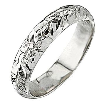 14K White Gold Plumeria Maile Ring(Barrel 1.5mm)