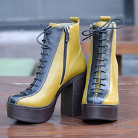 Bossa - Women's Genuine Leather Lace-up Platform Ankle Boots, Spring Boots, Block-Color Design Shoes, High Heel Shoes, Ready to Ship Shoes