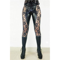 Retro Punk Floral Lace Splice Imitation Leather Pencil Legging