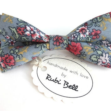 Bow Tie - floral bow tie - wedding bow tie - blue bow tie with pink, white, green and yellow flower pattern - man bow tie - men bow tie