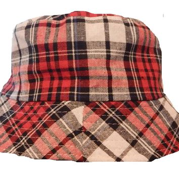 Mens Womens Red Check Bucket Hat Cotton Fishing Camping Camo Cap Stripe Boonie