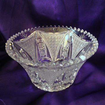 Brilliant Cut Crystal Bowl, Bohemian Queens Lace Style Candy, Nut Serving, Sawtooth, Fan, Zipper, Hobstar