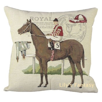 Retro Vintage Royal Horse Racing Home Decorative Thick Knitted Cotton Linen Pillow Case Cushion Cover 18'' 45CM