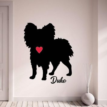 Papillion Silhouette Custom Name Decals Customized Dog Name Wall Stickers Pet Dog With Red Heart Wall Decor Art Mural L167